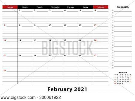 February 2021 Monthly Desk Pad Calendar Week Starts From Sunday, Size A3. February 2021 Calendar Pla