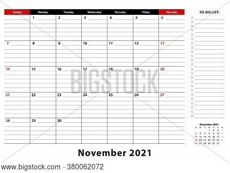 November 2021 Monthly Desk Pad Calendar Week Starts From Sunday, Size A3. November 2021 Calendar Pla