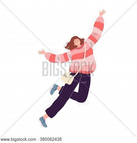 Young Happy Woman In A Pink Sweater And Black Pants Fun Jumps And Laughs. Vector Illustration Isolat