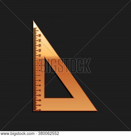 Gold Triangular Ruler Icon Isolated On Black Background. Straightedge Symbol. Geometric Symbol. Long