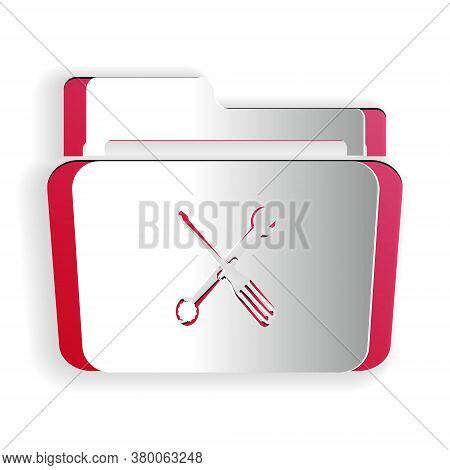 Paper Cut Folder And Tools Or Settings Icon Isolated On White Background. Folder With Wrench And Scr