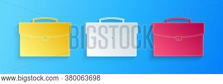 Paper Cut Briefcase Icon Isolated On Blue Background. Business Case Sign. Business Portfolio. Paper