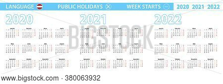 Simple Calendar Template In Latvian For 2020, 2021, 2022 Years. Week Starts From Monday. Vector Illu