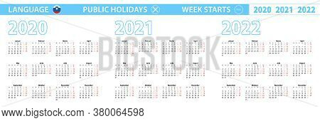 Simple Calendar Template In Slovenian For 2020, 2021, 2022 Years. Week Starts From Monday. Vector Il