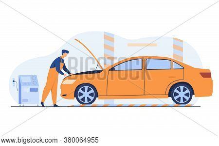 Auto Mechanic Repairing Vehicle Engine Isolated Flat Vector Illustration. Cartoon Man Fixing Or Chec