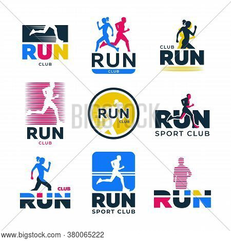 Different Retro Running Flat Logo Set. Colorful Silhouettes Of Runners And Athletes Jogging Marathon