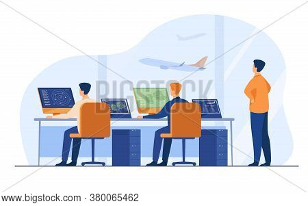 Flight Control Center Isolated Flat Vector Illustration. Cartoon Airport Command Room Or Tower For F