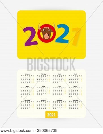 2021 Pocket Calendar With Colorful Numbers Of Year 2021, Week Starts On Monday.