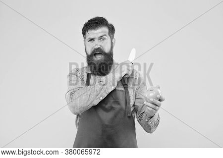 Mature Man Hold Knife And Vegetable. Chef Prepares Meal. Safe Cutting. Cutting Veggies. Ultimate Lis