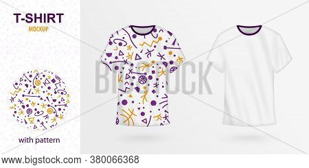 T-shirt Design With Basketball Pattern In Purple And Orange Color. Pattern Included In Swatch. Vecto
