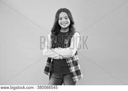 Beauty Is Whatever Gives Joy. Little Beauty Smile Pink Background. Beauty Look Of Adorable Kid. Smal