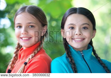 Girls Friends Fleece Clothes For Active Leisure Nature Background, Scouts Camp Concept.
