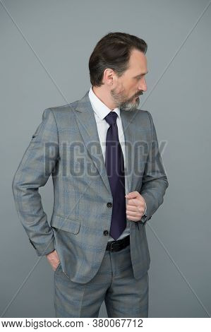 Treat Your Hair Today. Bearded Man In Formalwear Grey Background. Businessman Wear Beard. Hair Salon
