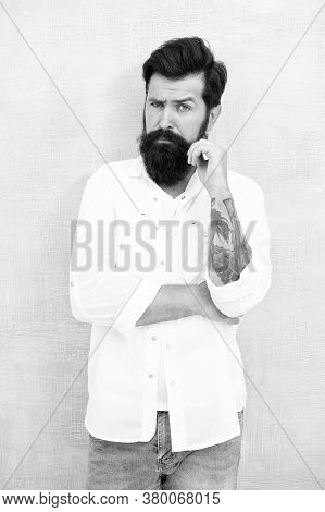 Attractive Man With Mustache. Thinking About Style. Summer Fashion. Bearded Model Casual Outfit. Fas
