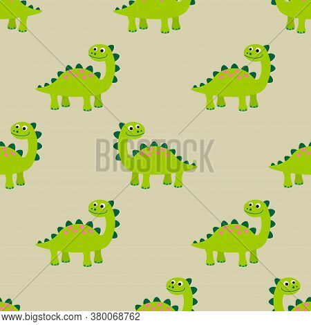 Cute Dinosaurs Seamless Pattern In Flat Childlike Style. Prehistoric World Background. Vector Illust