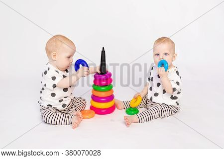 Two Twin Babies 8 Months Old Play On A White Isolated Background, Early Development Of Children Up T