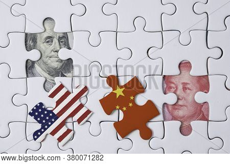 Usa And China Flag Print Screen On Jigsaw Puzzle Which Open And See Benjamin Franklin Face And Mao T