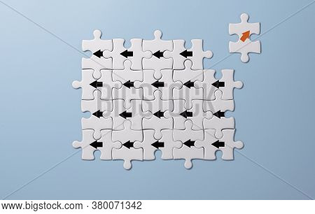 Red Arrow Print Screen On White Jigsaw Puzzle  Move Out And Chang Direction From Black Arrows. It Is