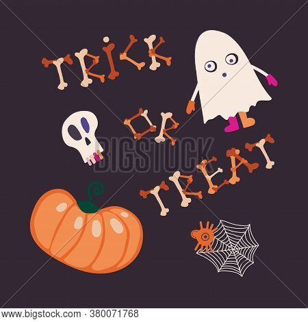 Isolated Vector Trick Or Treat Illustration Whit Ghost, Spider Net And Pumpkin
