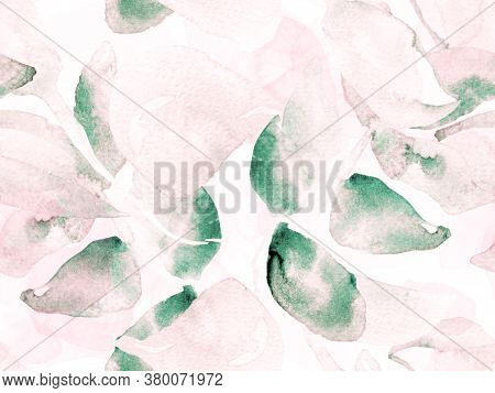 Summer Blossom Background. Botanical Floral Illustration. Watercolor Roses, Peony And Leaves Seamles