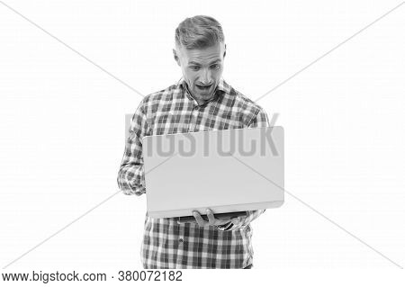 Life Is Game. Surprised Man Play Game Online. Gamer Isolated On White. Computer User Enjoy Playing N