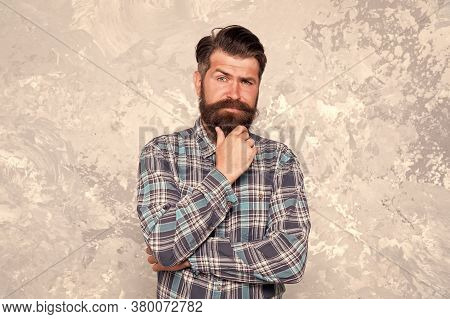 His Perfect Beard. Brutal Bearded Man Grunge Background. Serious Man With Lush Beard And Moustache.