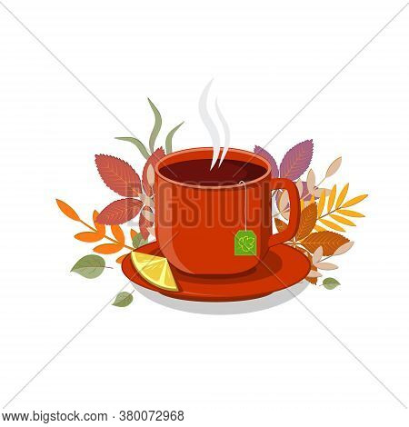 Red Cup With Hot Tea And Lemon On A Saucer On The Background Of Autumn Leaves, Clipart, Design, Deco