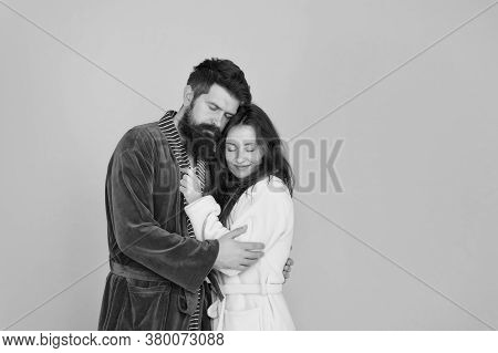 Sleepy People Blue Background. Couple In Love Bathrobes. Drowsy And Weak In Morning. Advice Relation