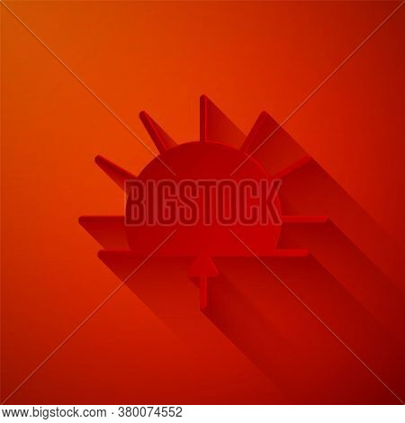 Paper Cut Sunrise Icon Isolated On Red Background. Paper Art Style. Vector Illustration