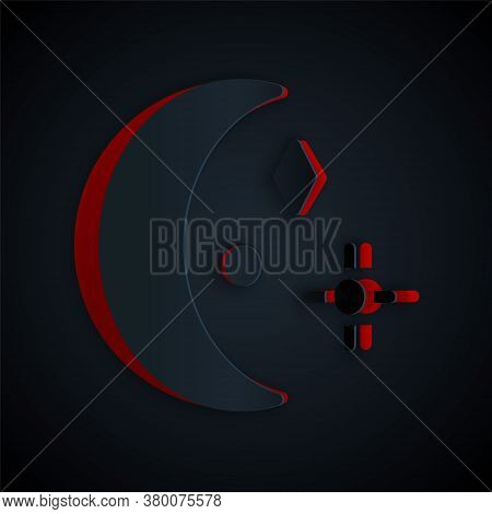 Paper Cut Moon And Stars Icon Isolated On Black Background. Cloudy Night Sign. Sleep Dreams Symbol.