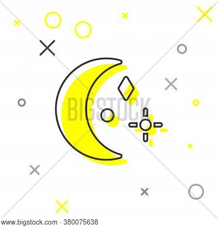 Grey Line Moon And Stars Icon Isolated On White Background. Cloudy Night Sign. Sleep Dreams Symbol.