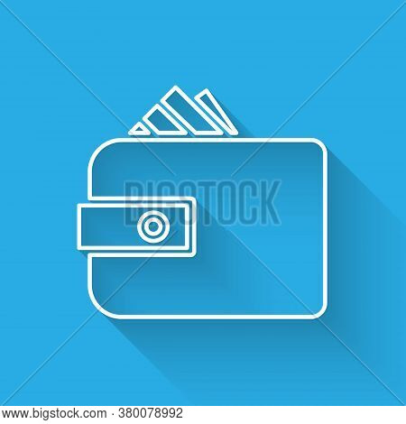 White Line Wallet With Stacks Paper Money Cash Icon Isolated With Long Shadow. Purse Icon. Cash Savi