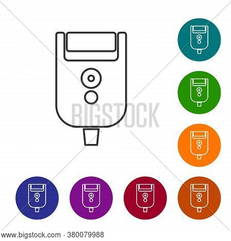 Black Line Electric Razor Blade For Men Icon Isolated On White Background. Electric Shaver. Set Icon