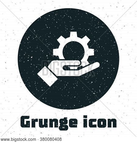 Grunge Hand Settings Gear Icon Isolated On White Background. Adjusting, Service, Maintenance, Repair