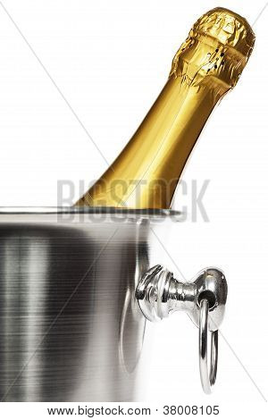 bottle of champagne in a champagne bucket
