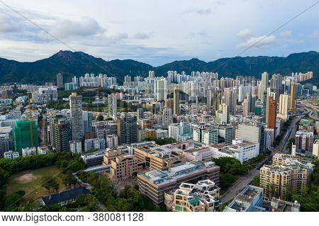 Kowloon Tong, Hong Kong 26 July 2020: Aerial view of Hong Kong city
