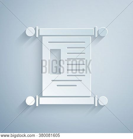 Paper Cut Decree, Paper, Parchment, Scroll Icon Icon Isolated On Grey Background. Chinese Scroll. Pa