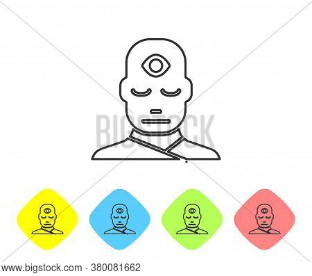 Grey Line Man With Third Eye Icon Isolated On White Background. The Concept Of Meditation, Vision Of