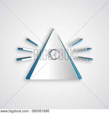 Paper Cut Masons Symbol All-seeing Eye Of God Icon Isolated On Grey Background. The Eye Of Providenc