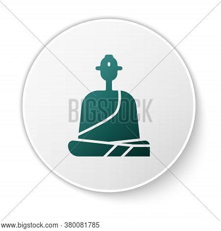 Green Buddhist Monk In Robes Sitting In Meditation Icon Isolated On White Background. White Circle B