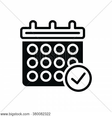 Black Solid Icon For Calendar-check-symbol Appointment Event Organizer Reminder Agenda Month