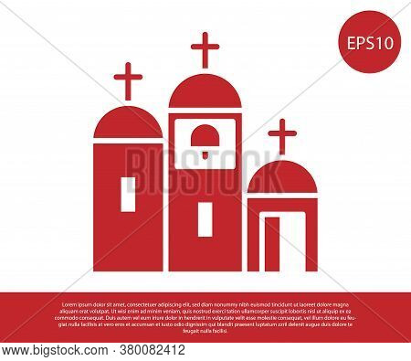 Red Church Building Icon Isolated On White Background. Christian Church. Religion Of Church. Vector