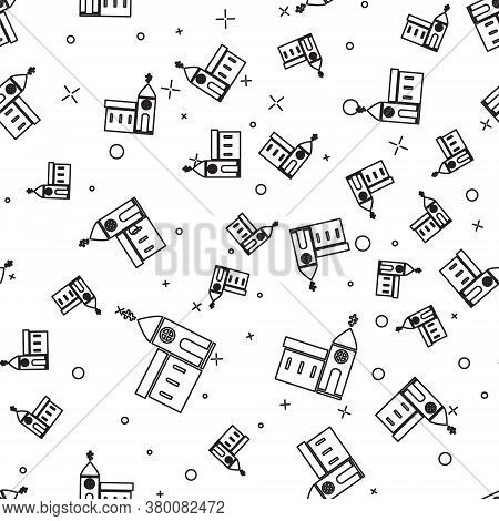 Black Line Church Building Icon Isolated Seamless Pattern On White Background. Christian Church. Rel