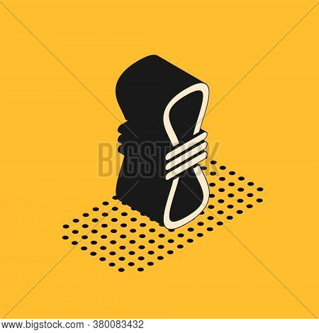 Isometric Climber Rope Icon Isolated On Yellow Background. Extreme Sport. Sport Equipment. Vector Il