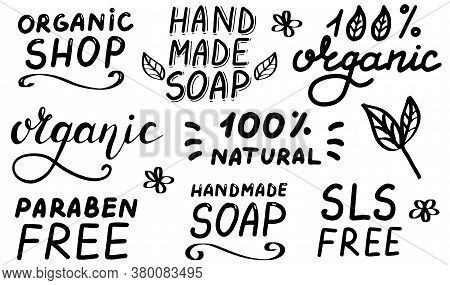 Organic Shop. Sls Paraben Free. 100 Percent Organic.handmade Soap Logo. Concept Of Natural Products,