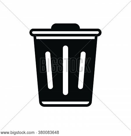 Black Solid Icon For Trash Debris Rubbish Waste Litter Residue Rubble Container Garbage Recycle Sewa