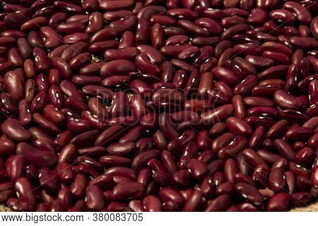 Fruits Of Red Beans Lie On Burlap, Background, Texture