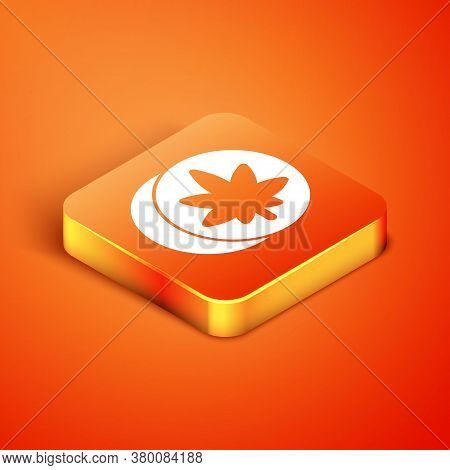Isometric Herbal Ecstasy Tablets Icon Isolated On Orange Background. Vector Illustration