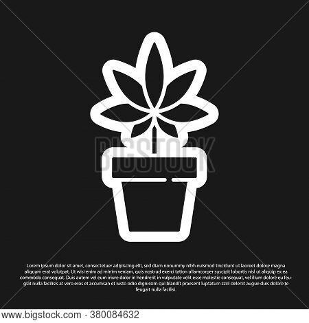 Black Medical Marijuana Or Cannabis Plant In Pot Icon Isolated On Black Background. Marijuana Growin