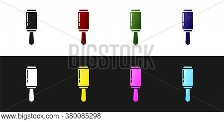 Set Adhesive Roller For Cleaning Clothes Icon Isolated On Black And White Background. Getting Rid Of